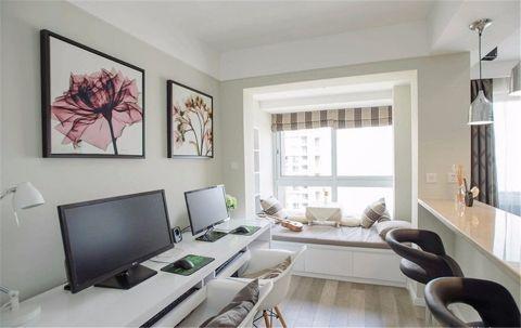 书房白色榻榻米现代风格装饰设计图片
