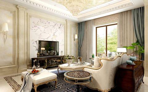 客厅米色背景墙法式风格效果图