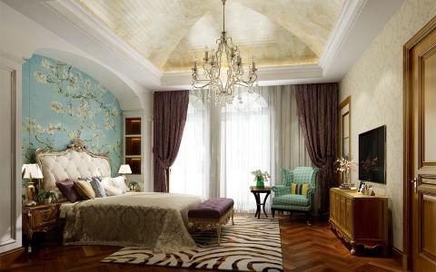 卧室蓝色背景墙法式风格装修效果图