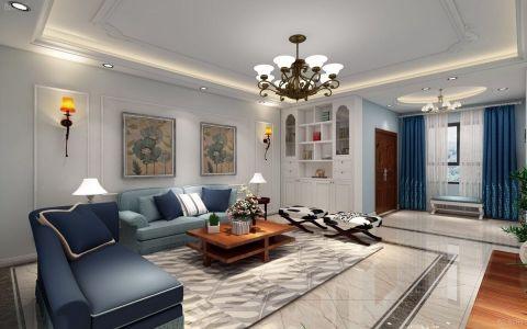 客厅咖啡色背景墙美式风格装潢图片