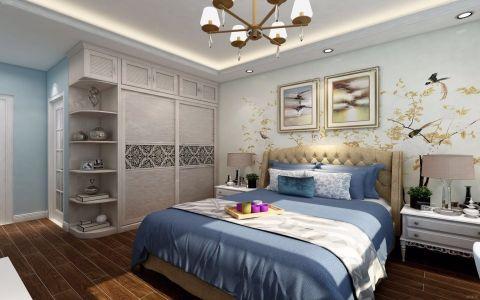 卧室绿色背景墙美式风格装修设计图片