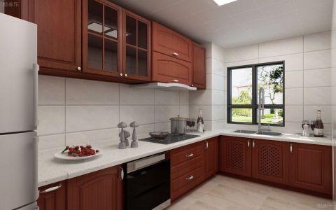厨房咖啡色橱柜新中式风格装饰效果图