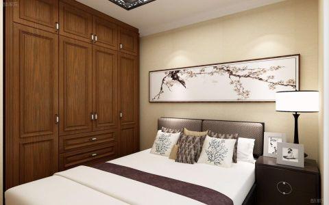 卧室米色背景墙新中式风格装饰图片