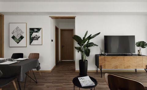 客厅米色背景墙北欧风格装修设计图片