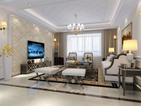 绿地滨湖国际花都112平米欧式风格三居室装修效果图