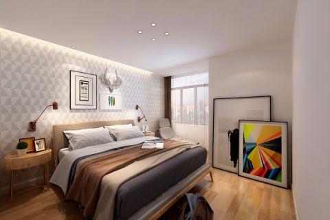 卧室米色背景墙现代风格装潢设计图片