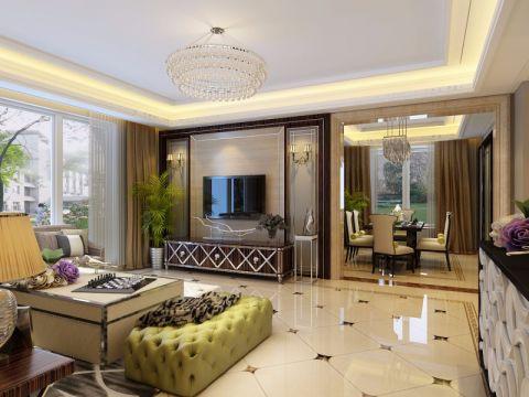 客厅白色背景墙现代简约风格效果图
