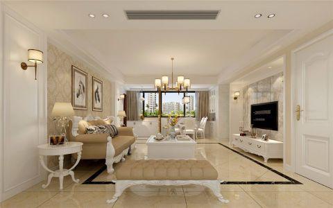 客厅白色吊顶简欧风格装潢效果图