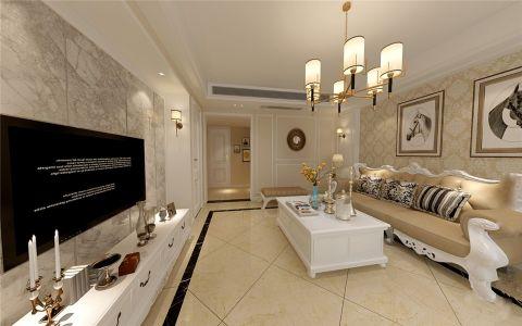 客厅米色背景墙简欧风格装修图片