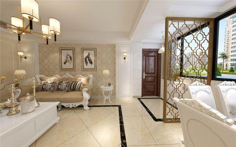客厅黄色隔断简欧风格装饰图片