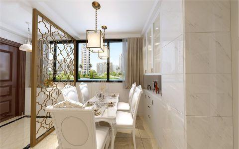 餐厅白色背景墙简欧风格装潢图片