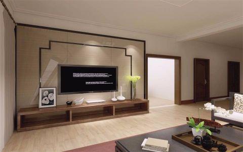 客厅咖啡色背景墙简中风格装饰设计图片