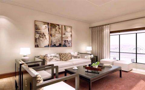 客厅白色照片墙简中风格装潢设计图片