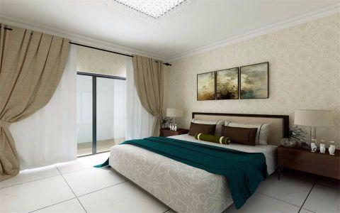 卧室白色窗帘简中风格效果图