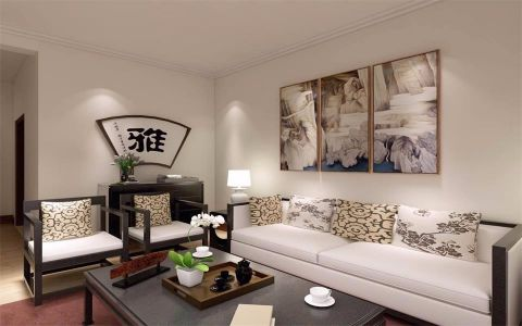 客厅灰色细节简中风格装饰效果图