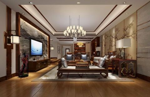 客厅白色背景墙新中式风格装修图片