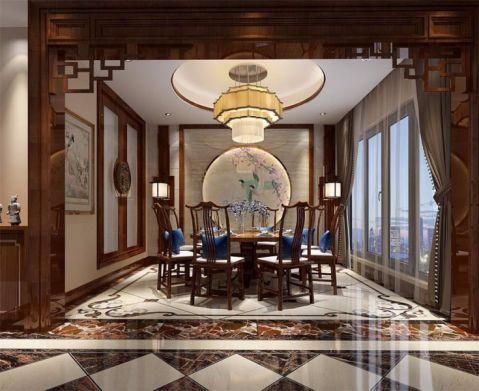 餐厅米色吊顶新中式风格装饰图片