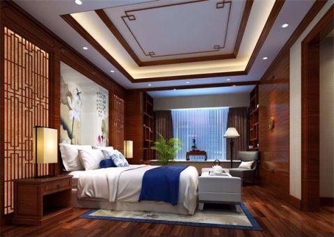 卧室米色背景墙新中式风格装修设计图片