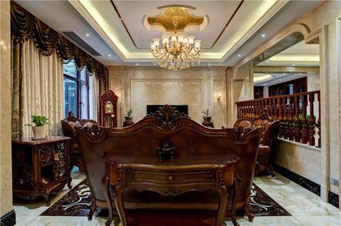 客厅黄色隐形门美式风格装饰图片