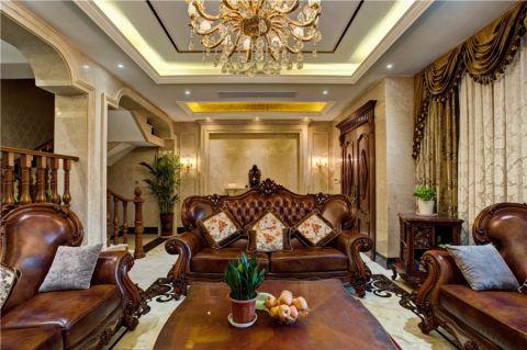 客厅红色走廊美式风格装潢图片