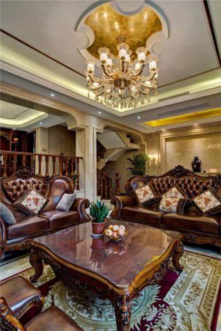 客厅黄色吊顶美式风格效果图