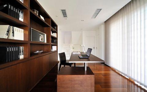 书房白色窗帘现代简约风格装潢图片