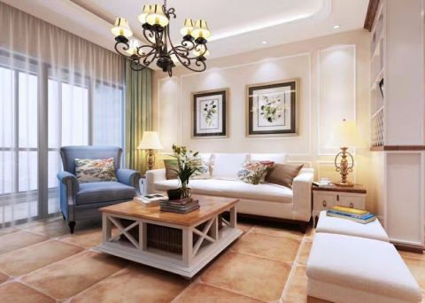 客厅白色背景墙简约风格装修设计图片