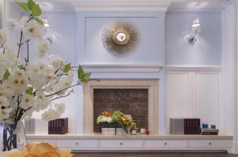 客厅蓝色背景墙美式风格装饰设计图片