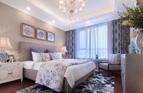 卧室蓝色窗帘美式风格装潢设计图片