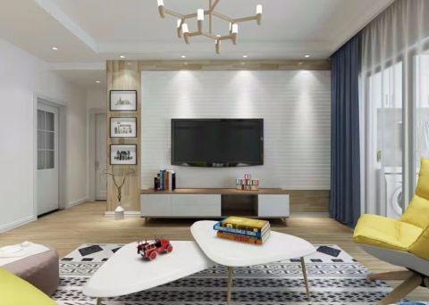 客厅蓝色窗帘田园风格装饰图片