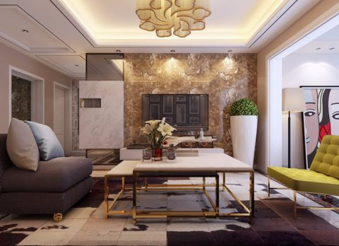 蓝鼎星河府98平米现代风格三居室装修效果图