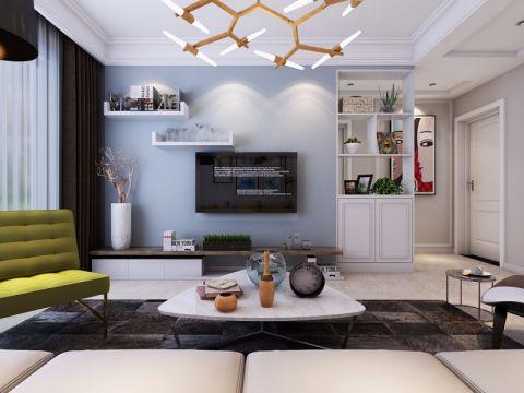 客厅蓝色背景墙简约风格装修效果图