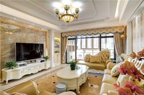 客厅黄色背景墙欧式风格效果图