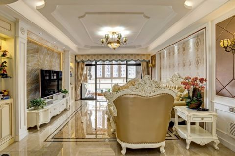 客厅白色茶几欧式风格装饰效果图