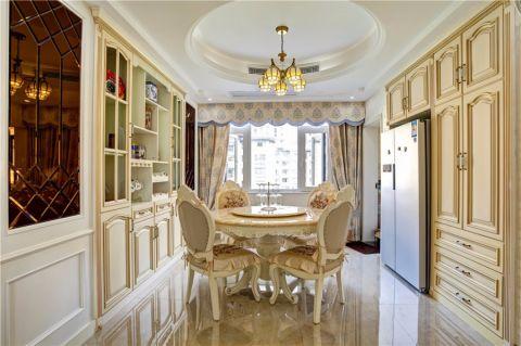 餐厅白色餐桌欧式风格装潢效果图
