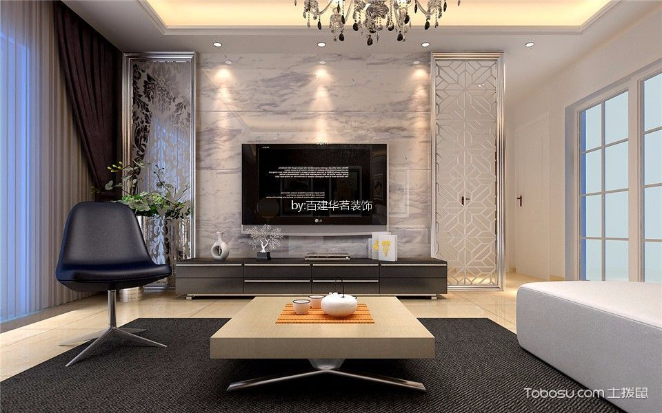客厅白色吊顶现代简约风格装修图片