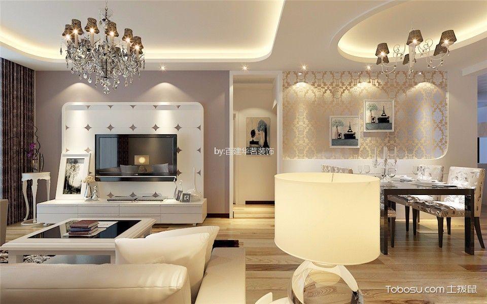 客厅白色吊顶现代简约风格装修设计图片