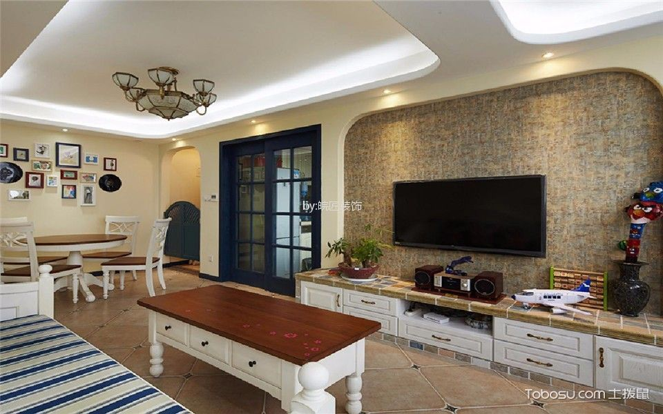 中海滨湖公馆114平美式风格三居室效果图