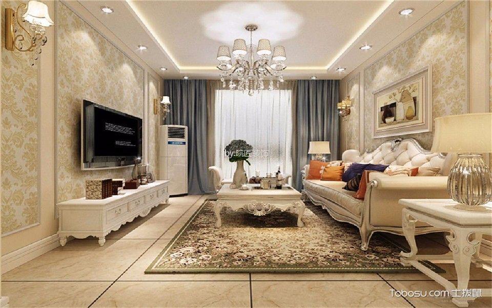长宁家园80平欧式风格三居室效果图