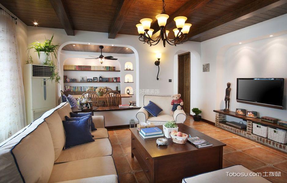 客厅彩色吊顶地中海风格效果图