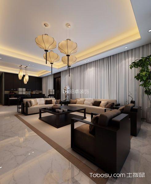 客厅白色吊顶新中式风格装修图片