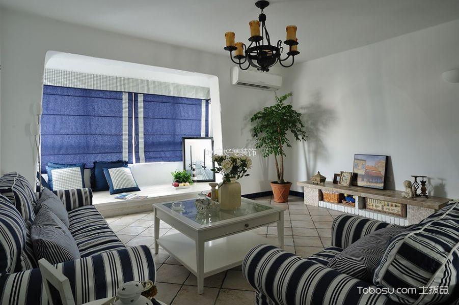 客厅蓝色吊顶地中海风格装饰设计图片
