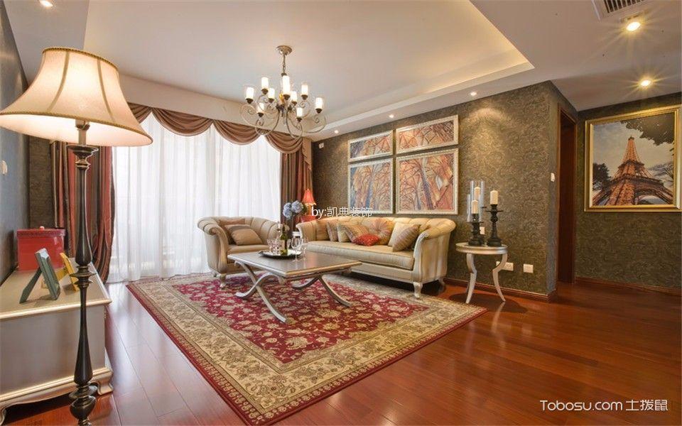 客厅咖啡色背景墙简欧风格效果图