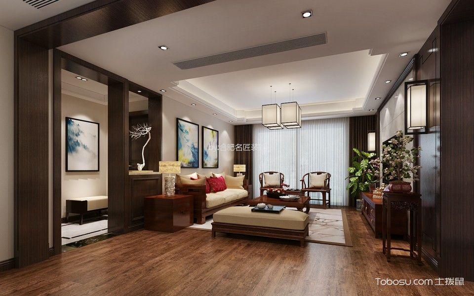 大溪地130平方新中式风格三室两厅装修效果图
