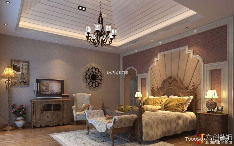 卧室咖啡色床美式风格效果图