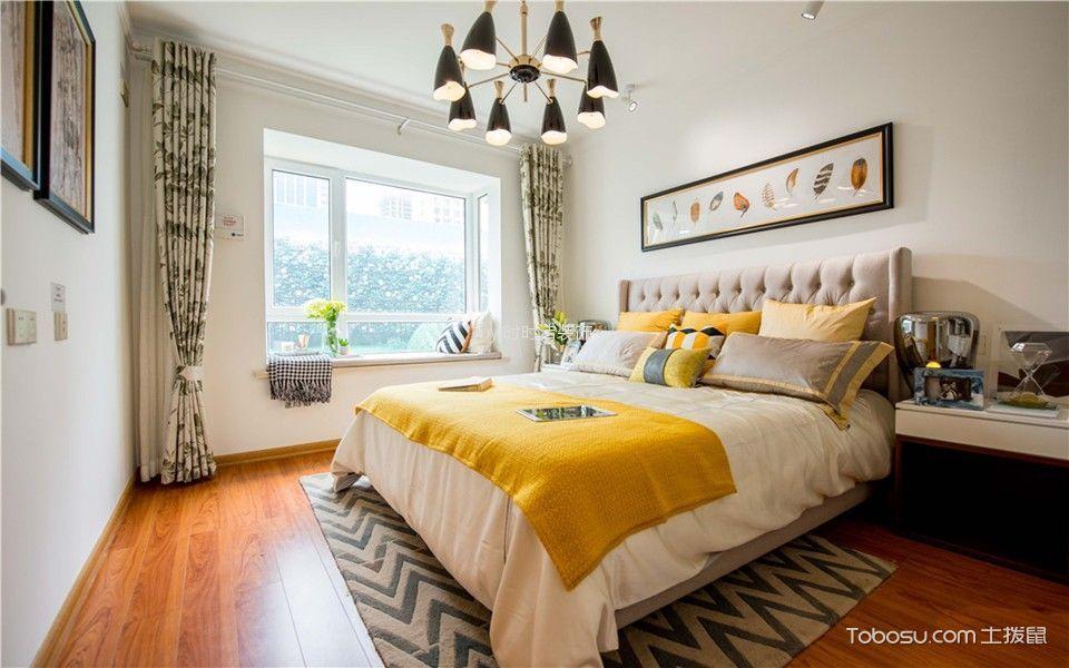 卧室白色床简欧风格装潢图片