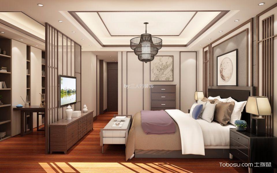 卧室黄色电视柜新中式风格装潢效果图