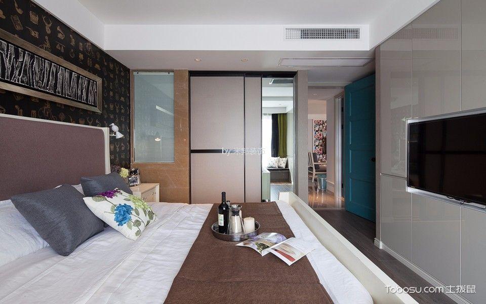 卧室彩色推拉门混搭风格装潢图片