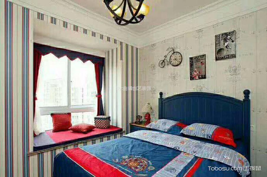 卧室红色窗帘美式风格装修设计图片