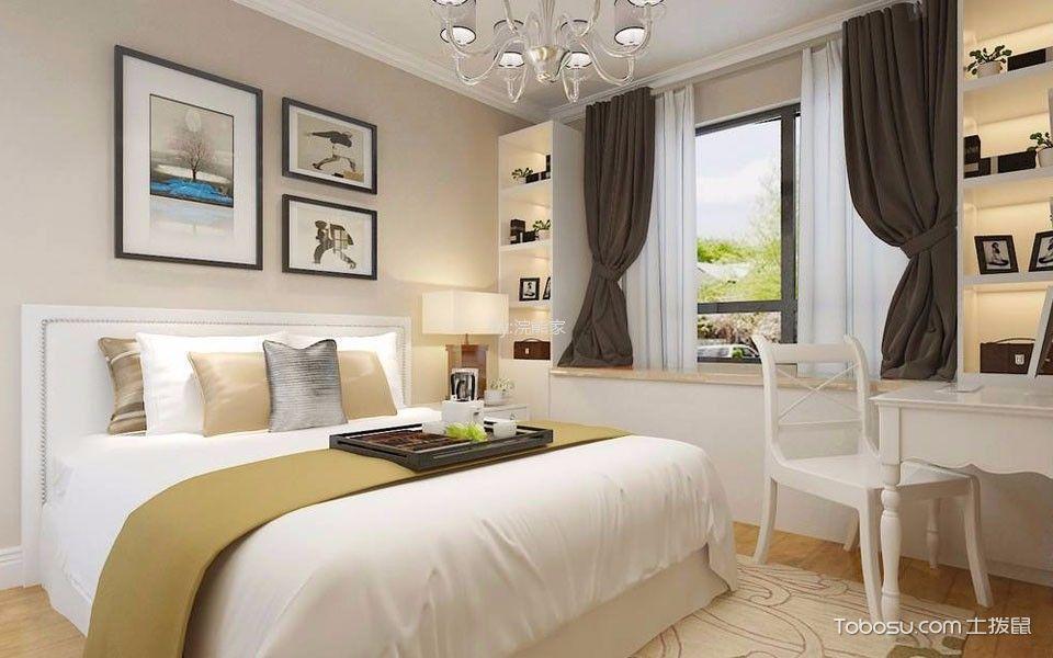 卧室白色飘窗现代简约风格装修设计图片